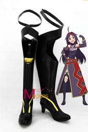 Wholesale Swords Costumes - Wholesale-Anime Sword Art Online Konno Yuuki Cosplay Shoes Black Fancy Boots Custom-made