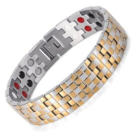 Wholesale Infrared Bracelet - Silver Gold Classic Bracelet Bio Health Healing Bracelet&Bangle Infrared Ion Magnet Germanium Energy Jewelry Link Chain Stainless Steel Bang