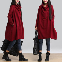 Wholesale Loose Neck Turtleneck - Autumn and Winter Dress Plus Size Women Clothing Turtleneck Long Sleeve Loose Casual Vintage Dress Solid Color Thickening Dress