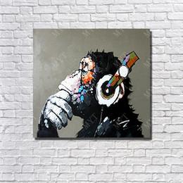 Wholesale Monkey Oil Painting Canvas - Hot Sale Handpainted Monkey Artwork Oil Painting On Canvas Living Room Wall Decor Single Set