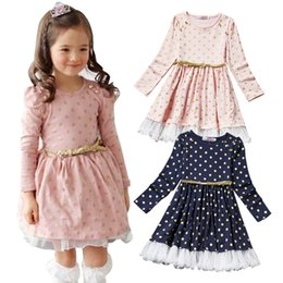 Wholesale Dot Lace Dress Girl Pink - PrettyBaby 2016 new arrival 2colors kids girls dress pink&blue long sleeves England style dot lace dress free shipping 100pcs Lot
