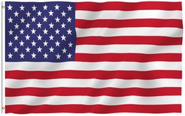 Wholesale flag canvas - 3x5 Foot American US Polyester Flag - Vivid Color and UV Fade Resistant - Canvas Header and Double Stitched