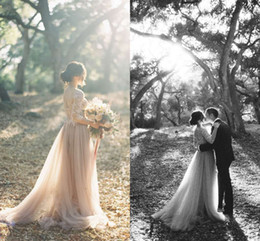 Wholesale Embellished Dresses - 2017 Modest Lace Tulle Wedding Dresses Sheer Neck Appliques Embellished 3 4 Long Sleeves Garden Beach Wedding Dresses Champagne Bridal Dress