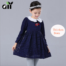 Wholesale Velvet Baby Princess Dress - Baby & Kids Clothing Girls' Dresses Winter warmth Thicken Down Velvet Wedding princess Lace Ball Gown Lolita Style party gowns dress #3071