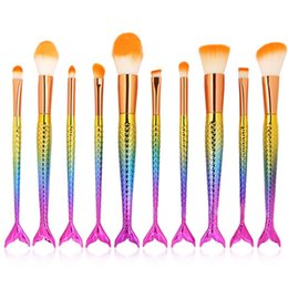set de maquillaje de arco iris Rebajas 10pcs Cepillo de sirena Rainbow Pinceles de maquillaje Set Cream Face Power Brushes Kits Belleza multiuso Rainbow Kits de cepillo cosmético 2017