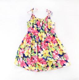 Wholesale Knee Length Beach Sundresses - Baby Girls Sling Dresses Kids Summer Beach Dress Casual Sleeveless Sundress Cotton Print Flower Kids Clothes