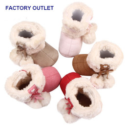 Wholesale Snow Rubber Shoes Sole - Winter Baby Boots Infant Walking Shoes Christmas Gift Shoes Cute Bowknot Hook&loop Soft Anti-slip Sole Keep Warm