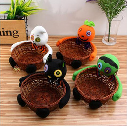 Wholesale Wholesale Bowls Bamboo - New Holloween Candy Holder Storage Boxes Smile Bamboo Pumpkin Bucket Basket Halloween Party Decor Fruit Bowl Bins Container CCA7532 60pcs