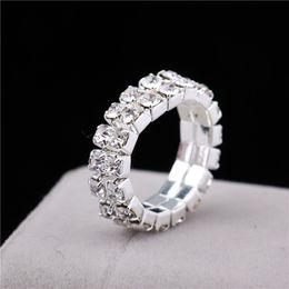 Wholesale Elastic Crystal Toe Rings - LBS Elastic 925 Stering Silver Double row Crystal rhinestone toe ring 6mm