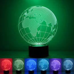 Wholesale Color Changing Christmas Lights - DC5V USB Power 3D Illusion Globe Earth 7 Color Change Night Light LED Desk Table Lamp Christmas Halloween decoration