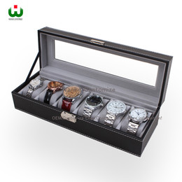 Wholesale Large Jewelry Storage - Large 6 Slot PU Leather SENIOR Watch Box Display Case Organizer Glass Top Jewelry Storage ORGANIZER BOX BLACK WITH WHITE STICHING