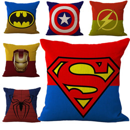superman prints Promo Codes - Avengers Iron Man Superman Spiderman Captain America Pillow Case Square linen cotton Throw Pillow Cases Cushion Covers Sofa Bed Decor 240383
