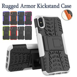 Wholesale Rugged Protection - For iPhone X 8 Plus Rugged Amor Case Hybrid Cases For Galaxy Note8 S8 ProtectionPlus Hard Shell Kickstand Cases Dual Protection With OPP Bag
