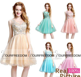 Wholesale Dancing Dresses Cheap - Real Image 2016 Cute Crew Neck Short Homecoming Dresses For Sweet 16 18 Sparkly Beaded Dance Party Gown Cheap Cocktail Dresses Hot Sale