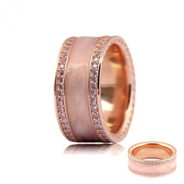 Wholesale Pink Sterling Silver Ring - Fit pandora jewelry Rose Gold Pink enamel Hearts Band Ring With Cubic Zirconia Rings For Women Fashion Jewelry2017 New 925 Sterling Silver