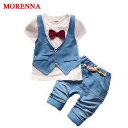 Wholesale Boys Fake 2pcs - MORENNA 2017 Fashion Kids Fake Two 2pcs Clothes Suit Baby Boy T-shirt Top+Short Pants Outfit Set Children Gentleman Clothing Sets