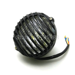 Wholesale Black Headlight Cover - 6.5'' 7'' Universal headlight Refit Black CNC Grill Aluminum Cover Lights Motorcycle Headlights Halogen led headlamp