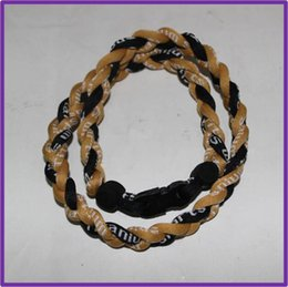 Wholesale Silicone Health Titanium Necklace - 2016 health silicone 3 ropes braided titanium necklace,high quality Sport Germanium Baseball necklaces