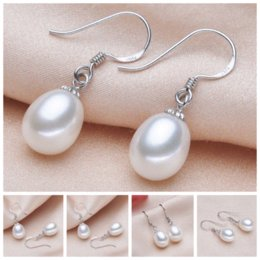 Wholesale Coral Jade Jewelry - Fine Jewelry For Women Simple White Color Natural Pearl Water-shaped Dangle Earrings Girlfriend Gifts PEL003WT-9 Cheap jewelry coral