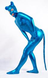 Wholesale Spandex Costume Catwoman - Shiny Metallic Blue cat Zentai Catwoman Halloween Cosplay Costume