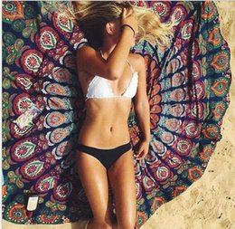 Wholesale Flower Wall Prints - Round Chiffon Lotus Flower Shape Mandala Indian Tapestry Wall Hanging Floral Printed Beach Throw Towel Hippie Gypsy Yoga Mat Blanket 150cm