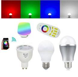 Mi Light 2.4G WIFI Smart LED Bulbo 9W 6W 5W 4W RGBW RGBWW Global Bubble regulable GU10 E27 E14 + 4 Zona RF Touch Remote + Milight Controller desde fabricantes