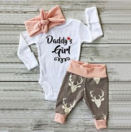 Wholesale Baby Cartoon Romper Suit - Wholesale Boys Girls Baby Rompers Clothing Sets Letters Onesies Cartoon Fawn Pants Headbangds Suits Christmas Toddler Romper Clothes Set