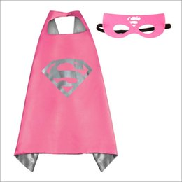Wholesale Satin Capes Wholesale - Superhero Capes and Masks Costumes Double sides Satin Capes and Felt Masks Kids Party Cosplay Costumes For Halloween and Gifts