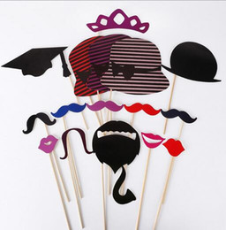 Wholesale wedding souvenirs china - New Photo Props 76 Pcs Set DIY Photo Booth Props Wedding Souvenirs China Cute With A Bamboo Stick Mustache Lips Decor Party Supplies
