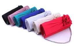 Wholesale Evening Bags Rose - Designer evening bags satin rose clutch bride bags bridemaid bags hand bags 8 colors sized 25x10x 5cm