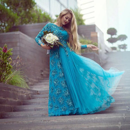 Wholesale Turquoise Mother Bride - Turquoise Long Sleeve Bridal Evening Dresses Sparkly Beading Tulle Lace Crew Neck 2016 Plus Size Mother of the Bride Dress Arabic Prom Gowns