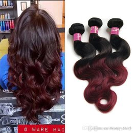 Wholesale Cheap Red Human Hair Extensions - Two Tone Natural Human Hair Extension Body Wave 3 Pieces Lot 100g Burgundy Wavy Bundle Cheap Ombre Dark Red Brazilian Hair Weave