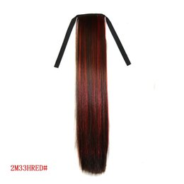 Wholesale Synthetic Hairpiece Blonde - Wholesale-New fashion women Synthetic Binding Horsetail straight brazilian ponytail pony tail hairpiece hair piece extensions blonde