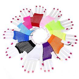 guantes de encaje blanco dedos largos Rebajas Nuevos guantes de malla de alta calidad de moda punk medio dedo Fishnet guantes trajes de club nocturno guantes de red
