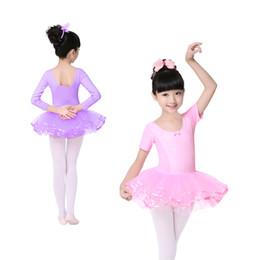 Wholesale Dance Ballet Long Tutus - Children Girls Long Short Sleeve Lace Dots Ballet Tutu Dress 4-14 Years Kids Dance Wear Princess Tulle Dress