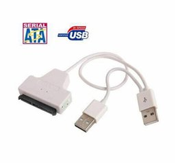 Wholesale Laptop Hard Drive Cables - White SATA 7+15 Pin 22Pin to USB 2.0 Adapter Cable For 2.5 HDD Laptop Hard Disk Drive power cable