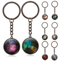 Wholesale Jewelry Ring Images - Universe Key Chains Outer Space Nebula Jewelry Universe Pendant Key Ring Galaxy Jewelry 3D Printing Image Dome Glass Pendant
