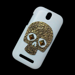 Wholesale One Sv - Unique Back Hard Case Cover for HTC One ST T528T One SV, Vintage Retro Bronze Metallic Skeleton Skull Punk Stud Rivet Protective Skin Shell