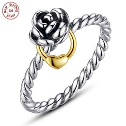 Wholesale 14k Solid Gold Charms - Wholesale Solid 925 Sterling Silver Rings Rose Heart Charms Ring For Woman Luxury Finger Ring DIY Fine Jewelry P113