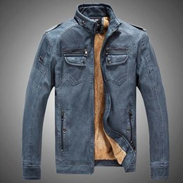 Wholesale Leather Jacket Mens Button Brown - Winter PU Leather Jacket Men Long Wool Leather Standing Collar Jackets Coat Outwear Trench Parka Mens Leather Jackets And Coats