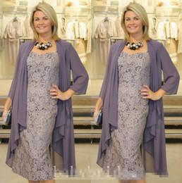 Wholesale Cheap Purple Coats - Plus Size Lace Mother Of Bride Dresses With Coat Cap Sleeves Tea Length Plus Size 2016 Custom Made Cheap Women Formal Evening Wears
