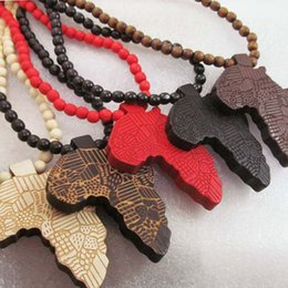 Wholesale wooden thanksgiving - Africa Map Pendant Good Wood NYC Hip Hop Wooden Dancer Fashion Necklace Wholesale Hot Sale #AWk23