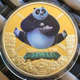 Kung fu tier cartoons online-100 teile / los, seltene Hollywood Movie star Chinesische Kungfu Panda cartoon tier vergoldet Kung Fu andenkenmünze