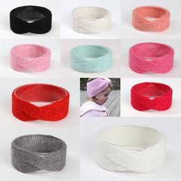 Wholesale Hairband Crochet Ribbon - INS New Elastic Hair Band Pure Color Hairbands Baby Girls Knit Wool Crochet Headwrap Bohemian Hairband Photography Props
