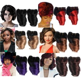 Wholesale Hair Perm Machine - 2 Bundles 8 Inch Brazilian Fumi Spring Curl Human Hair Weave Ombre Short Big Loosewave 100% Human Hair Extension 50g pc Sale