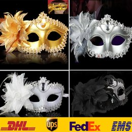 Wholesale Halloween Costumes Makeup - 4 Color Lace Flower Venetian Halloween Masquerade Ball Carnival Eye Masks Party Makeup Costume Princess Masks Gifts HH-M03