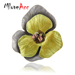 Wholesale Planting Moon Flowers - MloveAcc Brand Vintage Women Brooches & Pins Jewelry Yellow Enamel Flower Brooch w  Stone Fashion Anniversary Souvenirs