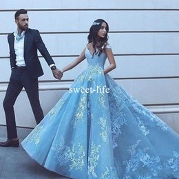 Wholesale Orange Sayings - Said Mhamad Light Sky Blue 2017 A Line Evening Dresses V Neck White Appliques Tulle Sweep Train Formal Occasion Custom Made Prom Party Gown