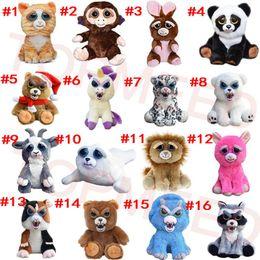 Wholesale Pet Toy Wholesale - DHL Feisty Pets One second Change face Animals 20CM 8 Inch Plush toys cartoon TY monkey bear unicorn Stuffed Animals baby Christmas gift