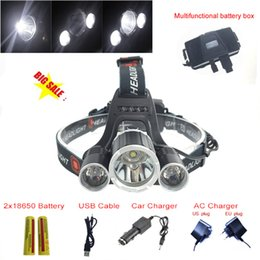 Wholesale Xml T6 Led Headlamp - 2016 NEW Rechargeable Headlamp High Power 8000lm CREE XML T6+2R5 Head Light With 2x18650 Battery and EU US AC Charger and Car Charger